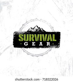 Survival Gear Outdoor Adventure Creative Rough Design Element. Vector Sign Concept On Distressed Wall Background