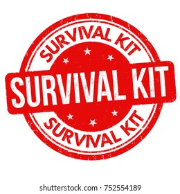 Survival kit grunge rubber stamp on white background, vector illustration