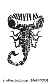 Survival lettering with floral scorpion silhouette illustration, vector.