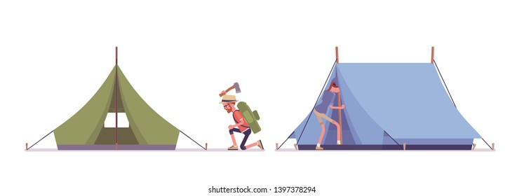 survival, outdoor, adventure, nature, kit, travel, journey, wild, equipment, lifestyle, discovery, extreme, flat, style, cartoon, illustration, vector, isolated, set, collection, character, man, boy,