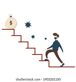 Survive in Career During Pandemic. Illustration of flat businessman character climb a stairs, showing make money activity on new normal.