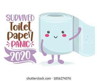 Survived Toilet Paper Panic 2020 - Funny toilet paper in kawaii style. Coronavirus covid-19 funny character Xmas greeting cards, invitations. For ugly Christmas sweaters, t-shirt, mug, gift, holiday