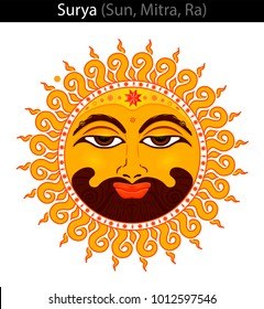 Surya ( Sun, Mitra, Ra). Vector illustration for astrology. Vedic culture. Jyotish.