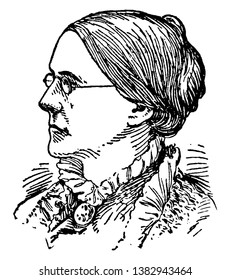 Susan B. Anthony, 1820-1906, she was an American social reformer who worked to secure women's suffrage in the United States, vintage line drawing or engraving illustration