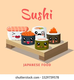 Sushi bar food logo. Japanese vector sushi bar restaurant roll icon. Asian delivery food. Sushi restaurant poster of Japanese food.