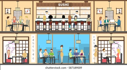 Sushi bar interior set. oriental style. Bar, tables and kitchen. Asian chefs and waitresses.