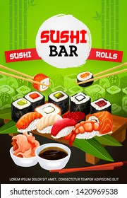 Sushi bar menu cover, Japanese food and Asian seafood restaurant. Vector Japanese sushi and maki rolls with wasabi, soy and bamboo chopsticks, eel unagi maki gunkan roll in nori and shrimp sushi