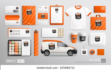 Sushi Bar Restaurant Corporate Brand identity Mockup set with Sushi logo. White and orange colors MockUp set of Sushi delivery van, lunch box, uniform, package