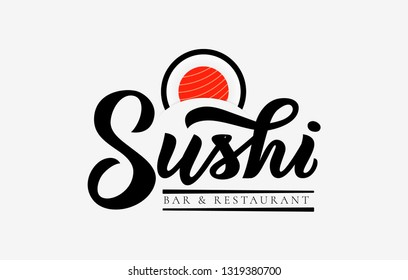 Sushi bar and restaurant hand calligraphy lettering , emblem of Japanese food with icon shape of sushi, roll and sticks.Vector. Template of logo, business card, banner, poster, inscription, flyer