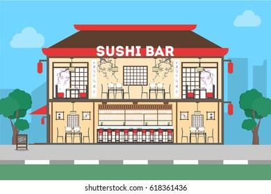 Sushi bar restaurant. Oriental exterior for exotic food.
