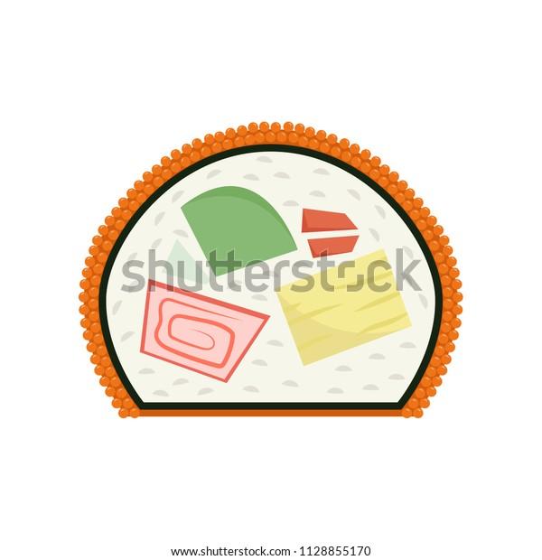 Sushi Cartoon Vector Wallpaper Background Stock Vector