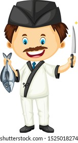 Sushi chef with fish and knife cartoon vector art and illustration