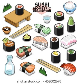 Sushi collection, traditional Japanese food. Isometric vector set