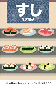 sushi conveyor belt with japanese words that read sushi vector/illustration