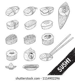 sushi draw black