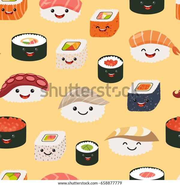 Sushi Emoji Seamless Pattern Cartoon Style Backgrounds