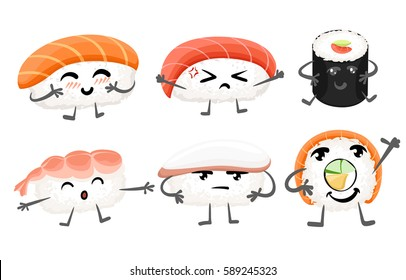 Sushi emoticon funny elements vector character. Different emotions collection  characters smile fun vector illustration isolated on white
