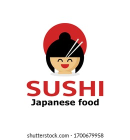 Sushi food logo. Sushi restaurant poster of Japanese food. Asian delivery food, vector illustration isolated on white background.