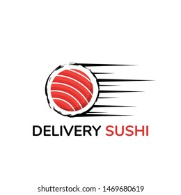 sushi food logo template, rolling delivery sushi for fast food