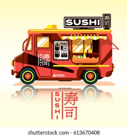 Sushi food truck.Fast food delivery.asian food