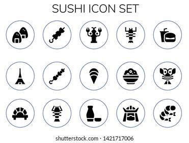 sushi icon set. 15 filled sushi icons.  Collection Of - Onigiri, Tokyo, Brochette, Lobster, Clam, Rice, Fast food, Dumpling, Sake, Samurai, Shrimp