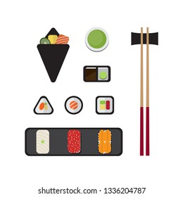 Sushi icon set design with sushi roll, rice ball, salmon temaki sushi, yellowtail, salmon roe, urchins sushi, hot green tea and chopsticks. Flat style, Vector illustration.