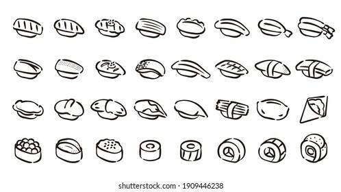 Sushi Icon Set (Hand draw version)