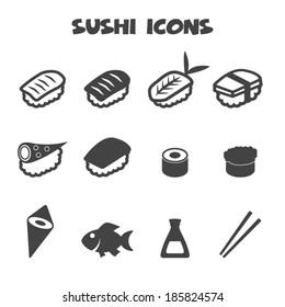 sushi icons, mono vector symbols