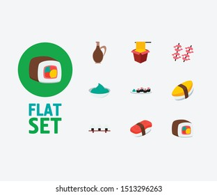 Sushi icons set. Unagi nigin and sushi icons with sushi roll, wasabi and sushi set. Set of egg for web app logo UI design