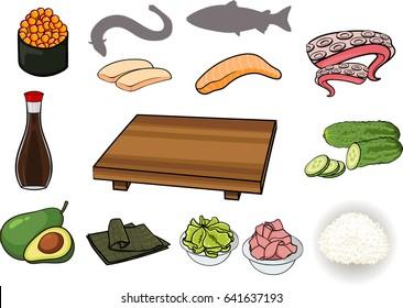 Sushi ingridiens set: caviar, eel, salmon, octopus, soy sauce, cucumber, avocado, nori, wasabi, rice, ginger, pop art cartoon style. Hand drawn isolated on white background.