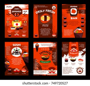 Sushi Japanese bar or seafood Asian restaurant menu templates. Sashimi and sushi rolls of salmon fish, bento tempura shrimp in steamed rice and tofu noodles soup, chopsticks or wasabi vector design