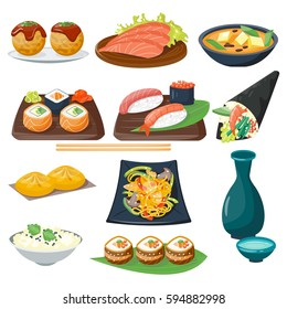 Sushi japanese cuisine traditional food flat healthy gourmet icons and oriental restaurant rice asia meal plate culture roll vector illustration.
