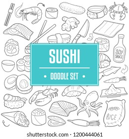 Sushi Japanese Food Traditional Doodle Icons Sketch Hand Made Design Vector