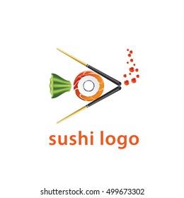 Sushi logo composition of chopsticks, roll, wasabi, caviar. Fish icon for Japanese food  restaurant menu.