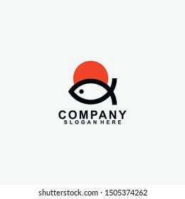 Sushi Logo Design With Fish. Isolated In White Background. Modern Design. Flat Logo. Sushi Logo. Sushi. Vector Illustration