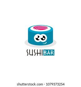 Sushi logo, icon, symbol, emblem, sign. Vector Style Illustration Logo of Japanese restaurant and Asian Street Fast Food Bar or Shop, Sushi, Maki and Onigiri Salmon Roll
