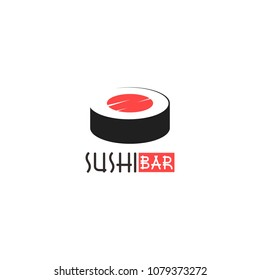 Sushi logo, icon, symbol, emblem, sign. Vector Style Illustration Logo of Japanese restaurant and Asian Street Fast Food Bar or Shop, Sushi, Maki and Onigiri Salmon Roll