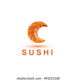 Sushi logo template. The letter C looks like a fresh piece of salmon fish.