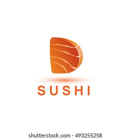 Sushi logo template. The letter D looks like a fresh piece of salmon fish.