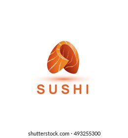 Sushi logo template. The letter A looks like a fresh piece of salmon fish.
