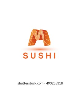 Sushi logo template. The letter M looks like a fresh piece of salmon fish.