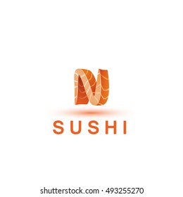 Sushi logo template. The letter N looks like a fresh piece of salmon fish.