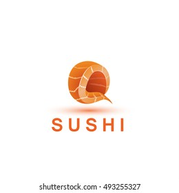 Sushi logo template. The letter Q looks like a fresh piece of salmon fish.