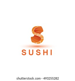 Sushi logo template. The letter S looks like a fresh piece of salmon fish.