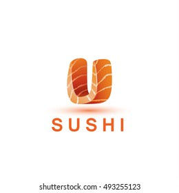 Sushi logo template. The letter U looks like a fresh piece of salmon fish.