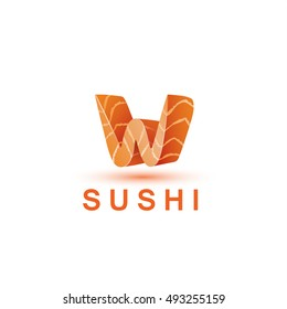Sushi logo template. The letter W looks like a fresh piece of salmon fish.