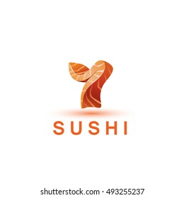 Sushi logo template. The letter Y looks like a fresh piece of salmon fish.