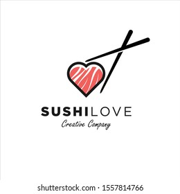 Sushi Love, Sushi icon, sushi flat style vector illustration