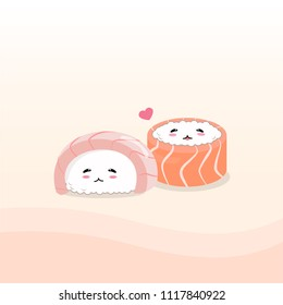 Sushi in love no. 2. Hamachi and salmon sushi.