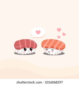 Sushi in love no. 2. Tuna and salmon sushi.